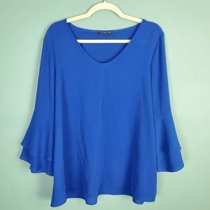 West Kei Tiered Bell Sleeve Blue Blouse Size XL